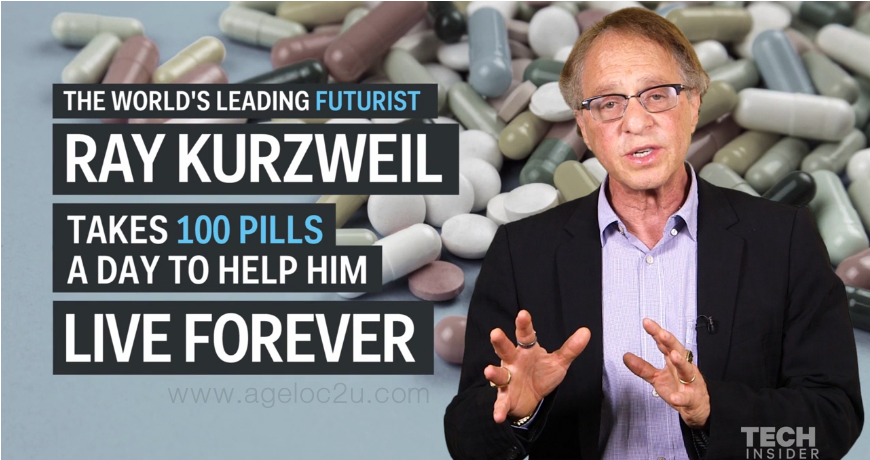 Google's genius futurist takes 100 pills a day to help him live forever